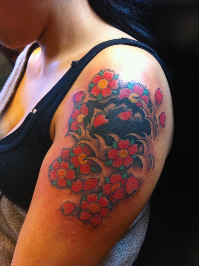 Cherry Blossoms Cobra Custom Tattoo
