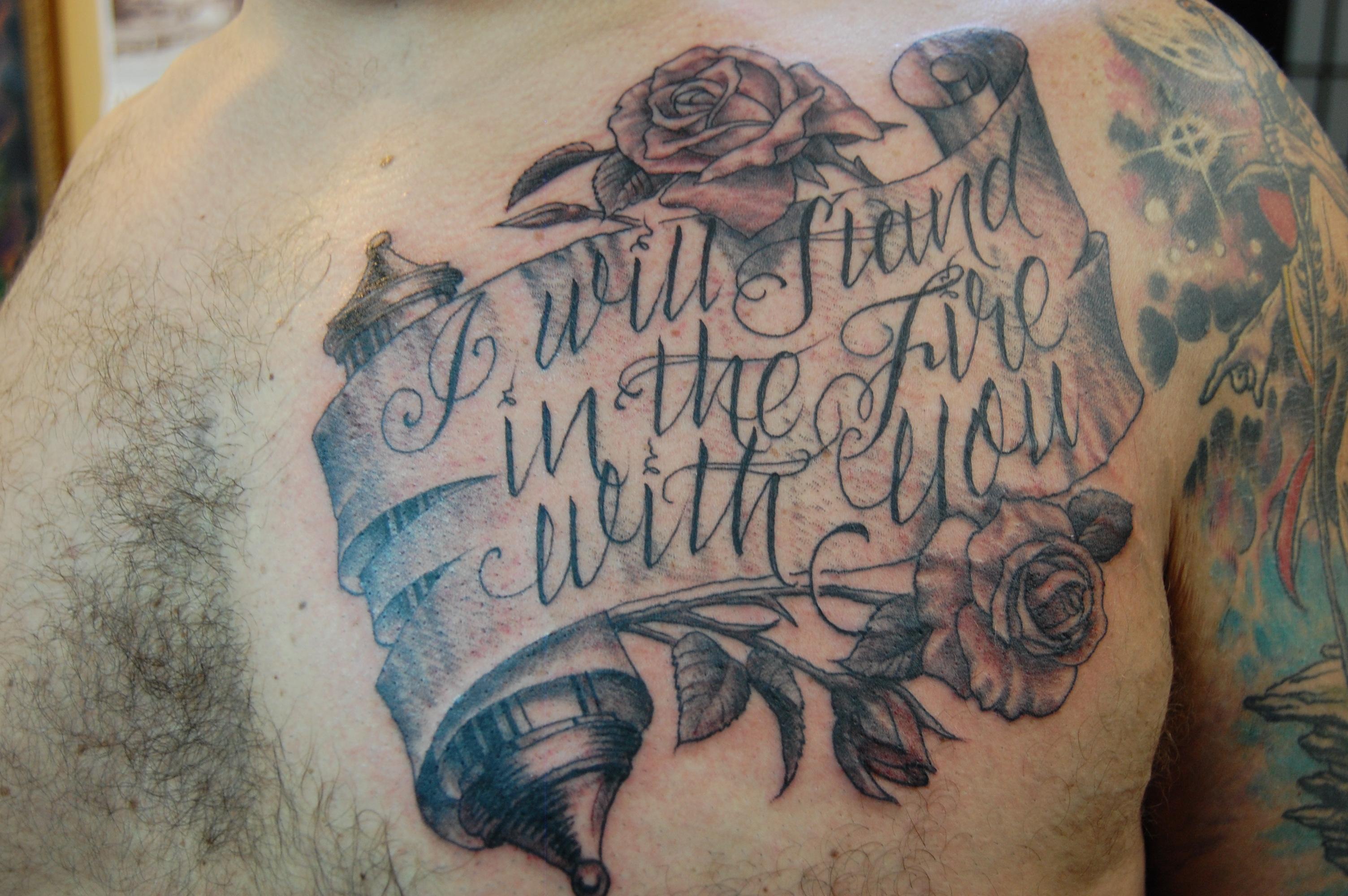Scroll Chest Tattoo